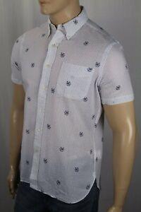 Ralph Lauren White Nautical Dog Classic Short Sleeve Seersucker Dress Shirt NWT