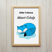 Fuchs Süße Träume Kunstdruck DIN A4 Spruch Bild Druck Kinderzimmer Dekoration