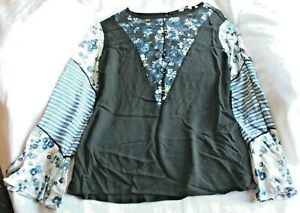 Next ladies navy / patchwork long sleeved top - size 10