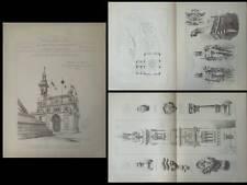 PAVILLON BRESIL, EXPOSITION UNIVERSELLE 1889- GRAVURES ARCHITECTURE- DAUVERGNE