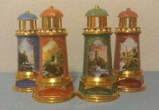 New listing 4 Thomas Kinkade 2004 Lighthouses Ceramic Porcelain Aa Battery Operated Lights