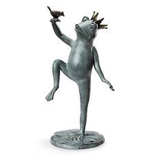 "Royal Dance Crowned Prince Frog & Bird Metal Garden Sculpture Statue Large 22""H"