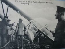 Wwi Imperial German Army Post Card Crashed Airplane Photo Cancellations 1916