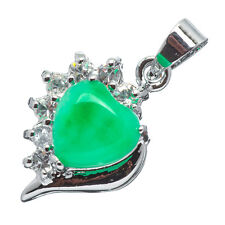 Chinese Emerald Green Jade Jadeite 18K White Gold Plated Heart CZ Pendant #022