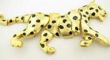 HUGE Vintage Enamel Leopard Jungle Cat Articulated Jointed Moving Brooch Pin