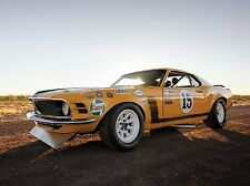 """1970 302 Boss Ford muscle Mustang racer Mini Poster 13""""x19"""" HD"""