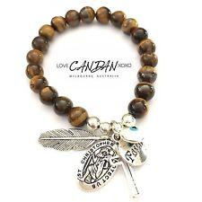 Tigers Evil Eye Bracelet With Saint Christopher Faith Cross Angel Feather Charms