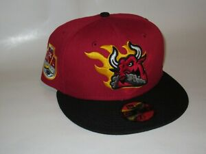 Kansas City Blaze Bull Hat Club Hockey League Pinot Red Black 59Fifty 7 1/8 NEW!