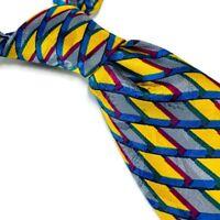 "Brioni Men's 100% Silk Neck Tie Abstract Yellow Blue Italy Multicolor 4""W 57""L"