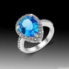 Neu Damen Design Aquamarin Zirkon Edelsteine Sterlingsilber 925 Ring Gr.16,8 mm