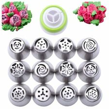 Russian Stainless Steel Piping Mouth 13 pcs EASY TO USE - (12 Russian Tips 1 ...