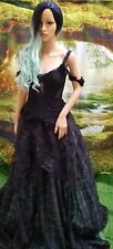 GWENDOLYN 2Pc Corset Black Organza Plaid Lace Mint Tulle Wedding Ballgown Set
