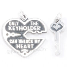 UNLOCK MY HEART Lock Charm Pendant 925 STERLING SILVER Only the Key holder 2 pc