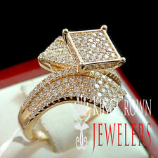 Ladies Women's Rose Gold Over Sterling Silver Simulated Diamond Engagement Ring