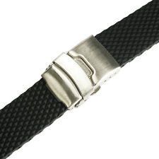 20mm deBeer 961 Black Waffle Silicone Rubber Deployant Dive Watch Band Strap