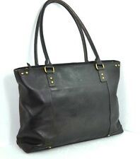 "SOLO BROWN GENUINE TOTE EXTRA LARGE COMPUTER LAPTOP 16"" BAG SHOULDER HANDBAG"