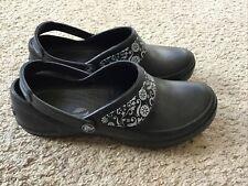 Crocs Womens Mercy Work Nurse Slip Resistant Black Slip On Clogs #10876 Size 8