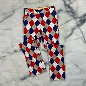 Loudmouth Golf Pants Size 28x32 Mens Argyle Red Blue White Plaid Cotton Straight