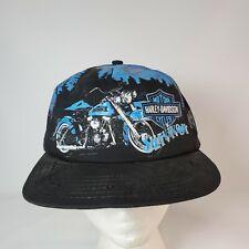 Harley Davidson Survivor Vintage 90s All Over Print Wolf Snapback Hat Made USA