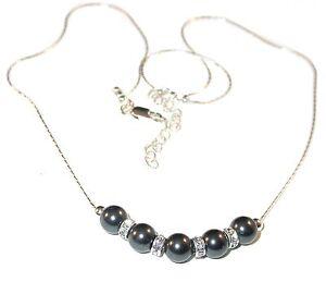 BLACK Pearl Necklace Bridal Sterling Silver Swarovski Elements