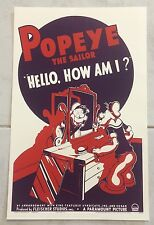 """Popeye The Sailor """"Hello, How Am I?"""" Paramount Picture Poster 1939"""
