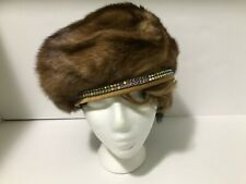 Women's fashion brown hat with rhinestones, Lily &Taylor, size OS.