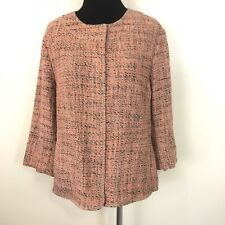 J JILL PINK AND BROWN TWEED SNAP UP WOMENS BLAZER WORK JACKET SIZE MEDIUM