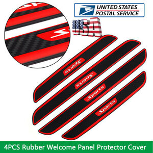 4PCS Carbon Fiber Car Scuff Plate Door Sill Sticker Panel Protector Cover  US