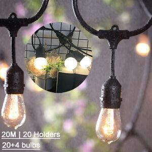 20M Outdoor Globe Fairy String Festoon Light S14/LED Bulbs Garden Party Occasion