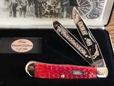 "CASE XX Colt.45""PEACEMAKER"" Classic Red Bone Trapper Knife Gold Etch/Display NEW"