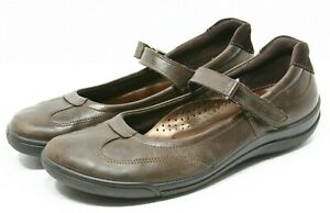 ECCO Maryjane Flats Womens Shoes size 9 40 Brown leather dress casual Sneakers