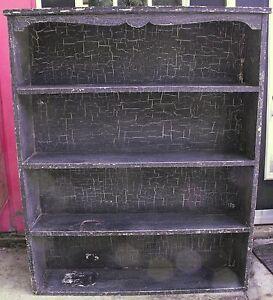 Vintage Black Crackle Finish Bookcase Primitive Country Decor 4 shelves