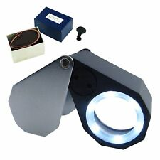 Mini 10x Loupe Bijoutier Optique Glass Eye Triplet Lens 6 LED Lumière