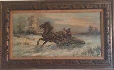 """EDWARD PIERZYNSKI PAINTING POLISH BORN 1922 """"MAN ON A HORSE SLED"""""""