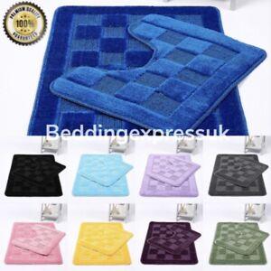 Squares 2 Piece Bath Mat & Pedestal Set Non Slip Bathroom Set Bathmats Easy Care