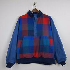 Vintage Pendleton Lobo M Usa Wool Red/Blue Plaid Side Zip 1/2 Front Snap Jacket