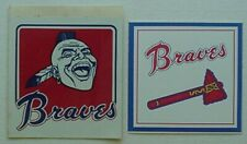 2 VINTAGE ATLANTA BRAVES STICKERS - SCREAMING INDIAN (70s) TOMAHAWK (80s)