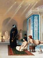 PAINTING INTERIOR STUDY GEROME POOL HAREM POSTER ART PRINT BB12509A