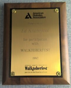 Ed Kranepool New York Mets Award Plaque 1992 American Diabetes Association