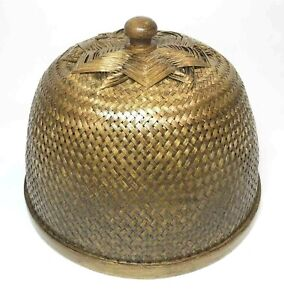 """10"""" Lacquer Coated Food Cover / Lampshade Wickerwork Handcraft Thai Craft Decor"""