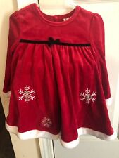 24 Months Girls Christmas Dress, Hat, Booties Red White Wore Once EUC Snowflakes