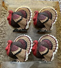 Vintage Set of 4 Turkey Napkin Rings - Noble Excellence Brand