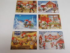 6 Assorted Swedish Christmas Postcards by Lars Carlsson Tomte Gnome