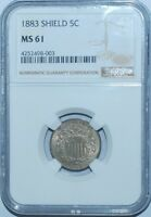 1883 NGC MS61 Repunched Date + Doubled Double Die Obverse F-UL Shield Nickel