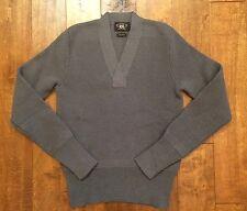 NWT RRL Ralph Lauren Gray 100% Wool V-Neck Long Sleeve Sweater Men's Size S