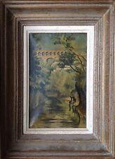 ECOLE FRANÇAISE du XXè.Le Pont du Gard et le Gardon.HST.22x13.circa 1950.Cadre.