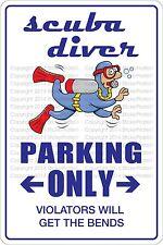 "Metal Sign Scuba Diver Parking Only 8"" x 12"" Aluminum NS 515"