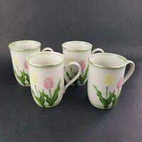 Otagiri Tulip Mugs Coffee Cups Pastel Floral Mugs Vintage Lot of 4 EUC