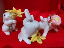 Easter Decor Fitz & Floyd Bunny Blooms Tumblers Bunny Figurines In Box