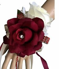 Burgundy and Ivory Wrist Corsage:artificial open roses with rhinestone and bling